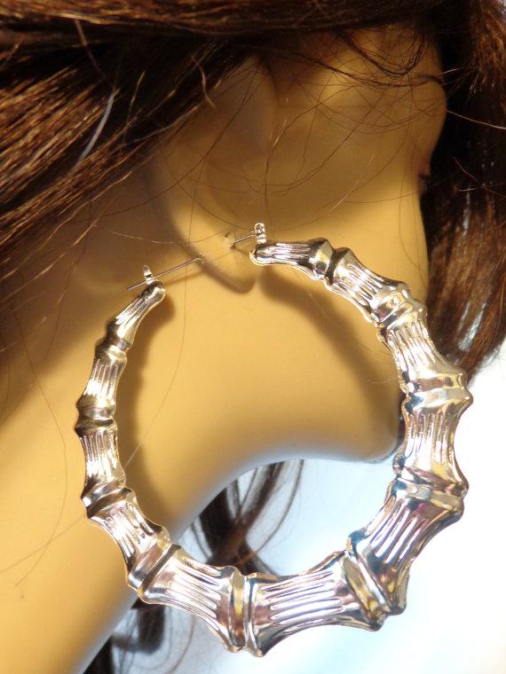 Vintage Earrings Bamboo Hoop 3 5 Inch Silver Tone Retro