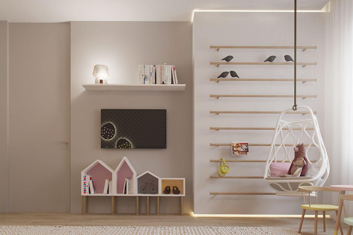 Leuke speelkamer met zachte kleuren playroom kinderkamer