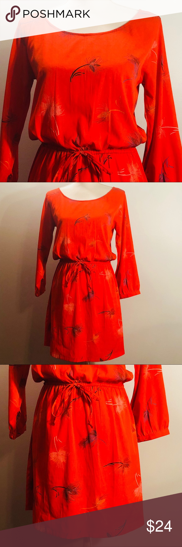 bcf04c676a2 O'Neill Orange Floral Drawstring Midi Dress O'Neill Orange Floral  Drawstring Midi Dress. Orange with a poppy floral print. Round neckline. Long  sleeves with ...
