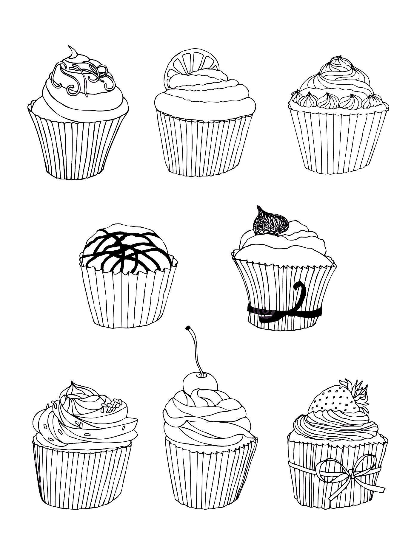 Miam tr¨s raffinés ces bons Cup Cakes  imprimer et colorier Dans la galerie Cup Cakes