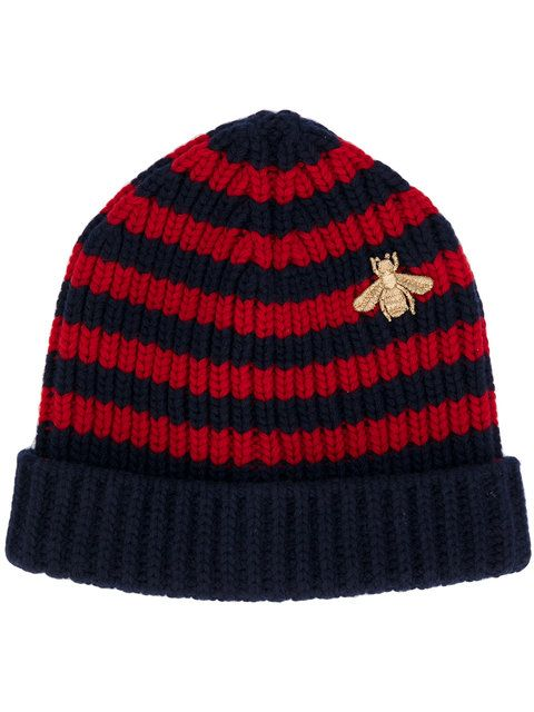 f4bf826b158 Shop Gucci Bee striped beanie hat.