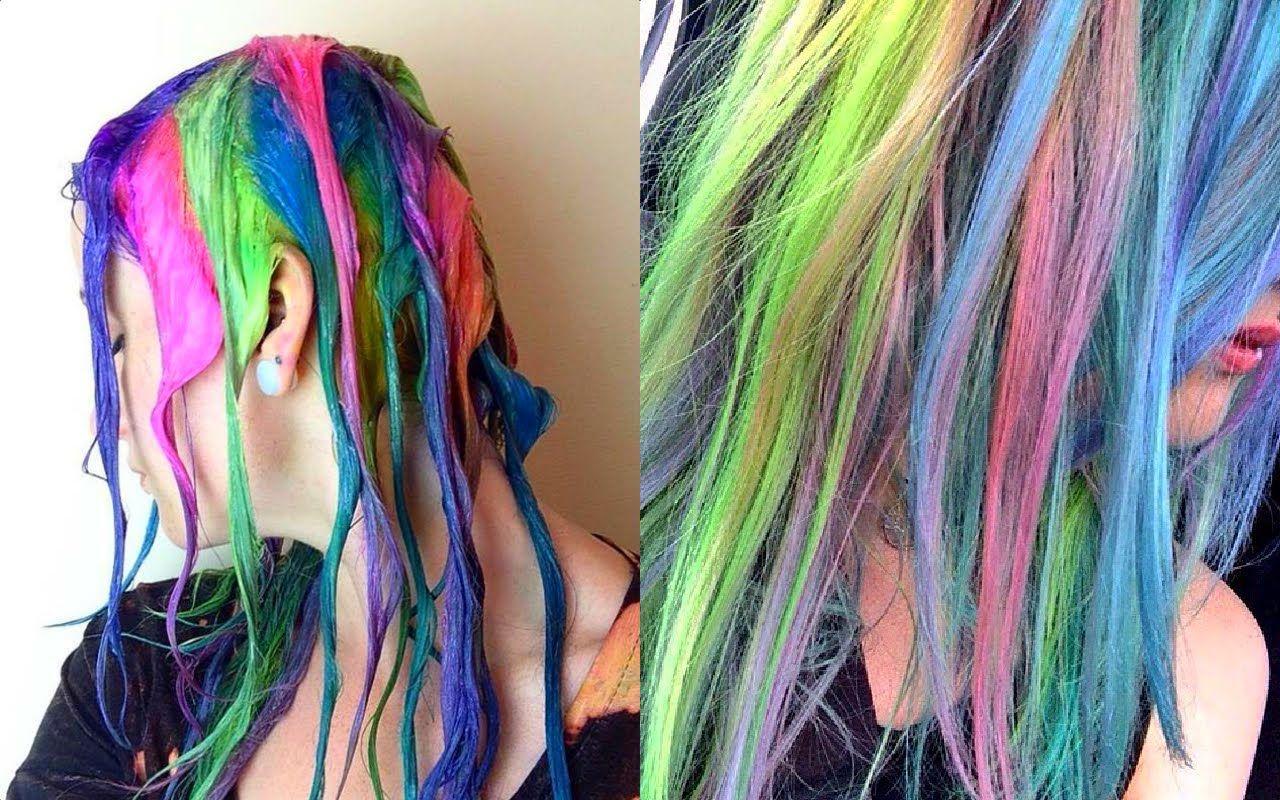 Rainbow Candy Floss Hair Tutorial Hair Dye Tutorial Pinwheel Hair Color Hair Tutorial