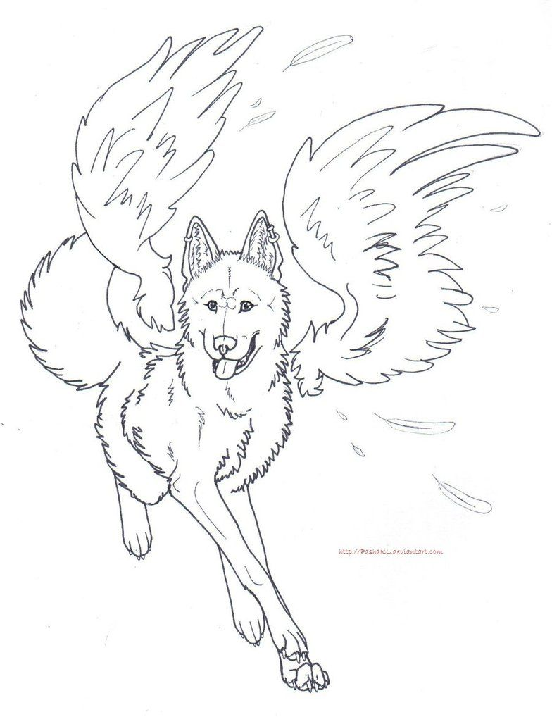 Free Winged Wolf Lines By Pashakl On Deviantart Angel Coloring Pages Detailed Coloring Pages Train Coloring Pages