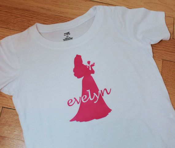 Personalized disney princess inspired silhouette iron on for Heat press decals for t shirts