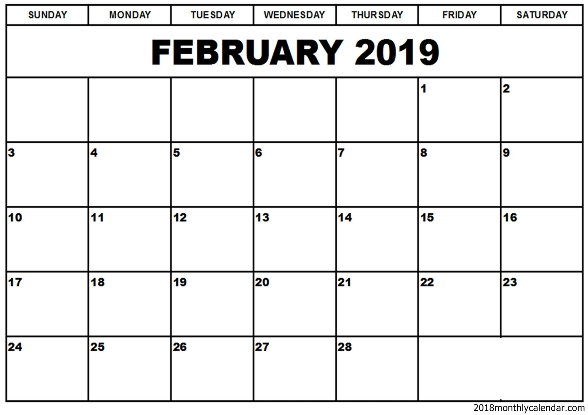 Calendar 2019 February Printable Template Download Editable