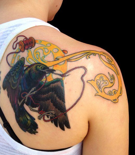 Art Nouveau Bird With Needle And Thread Right Shoulder Art Deco Tattoo Tattoos Feminine Tattoos