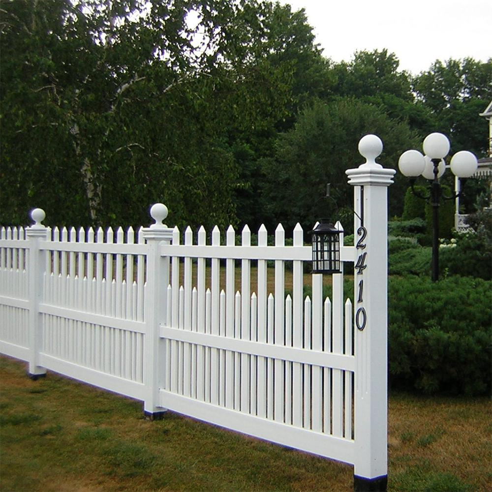 4 Tall Scalloped Picket Fence W Dog Ear Picket Caps In 2020 Vinyl Fence Picket Fence Fence