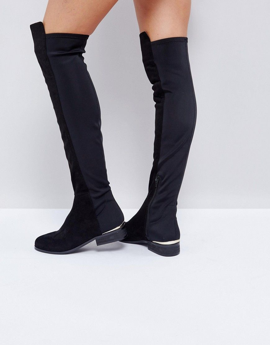 Asos Knight The Over BlackIn Stretch Knee Boots CWdQrBxoe