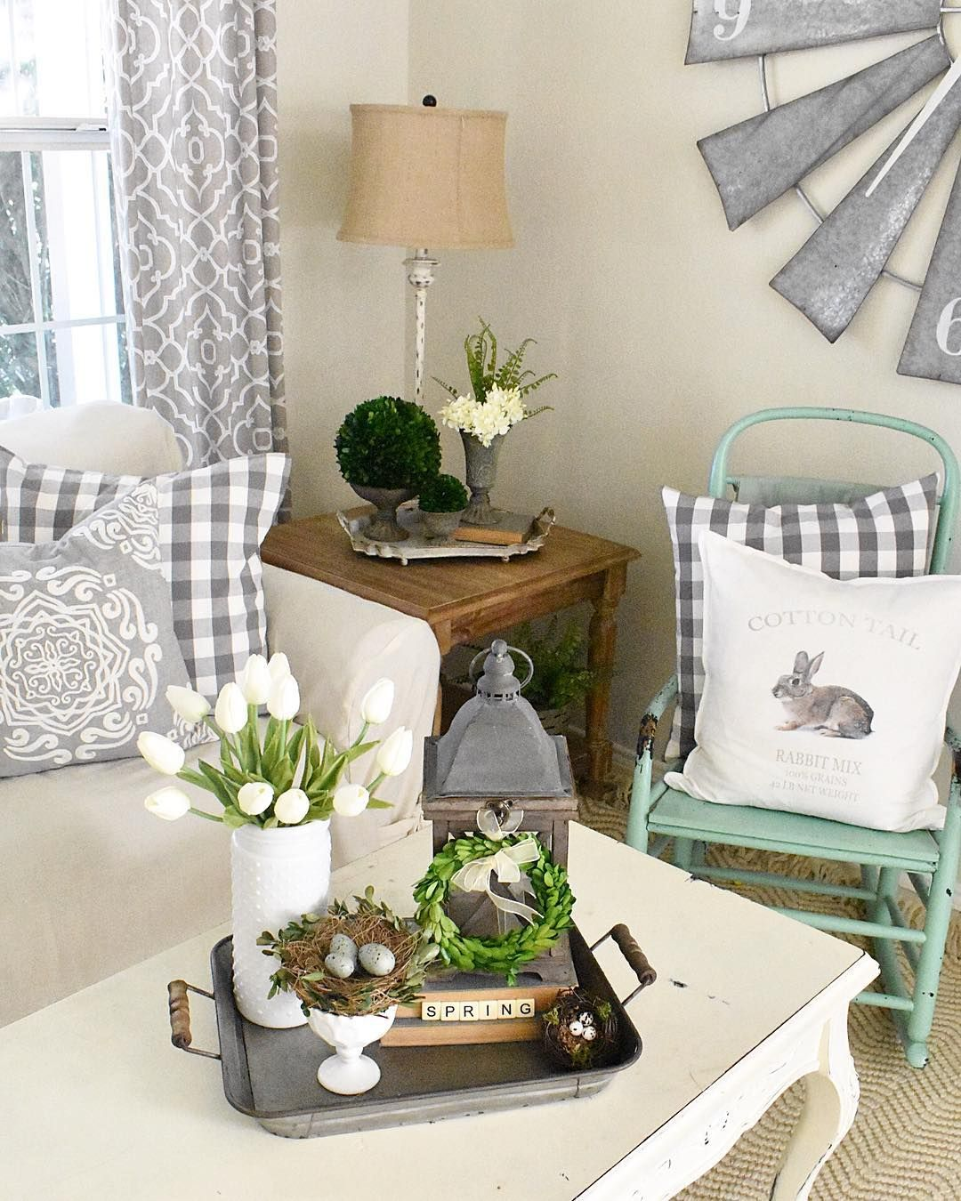 Shabby chic living room windmill and bunny pillow