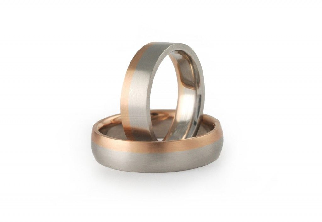 Platinum And Rose Gold Wedding Ring Set
