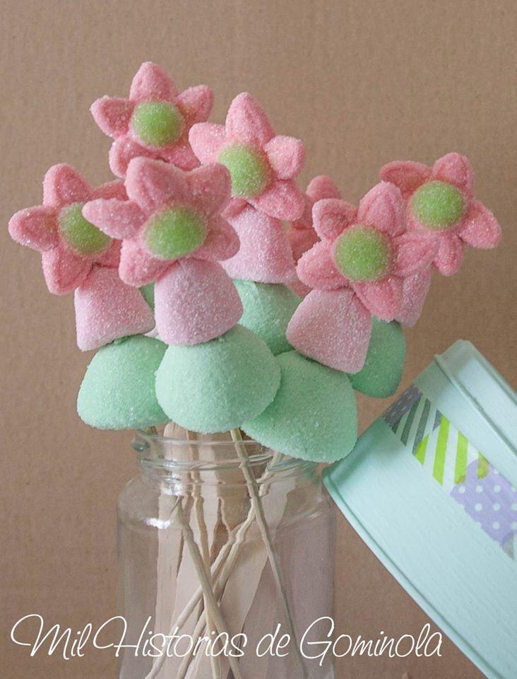 Brochetas de Chuches, rosa y mint Ideales para comuniones dulces