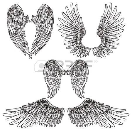 Engel oder Vogel Flügel abstrakte Skizze Set isoliert