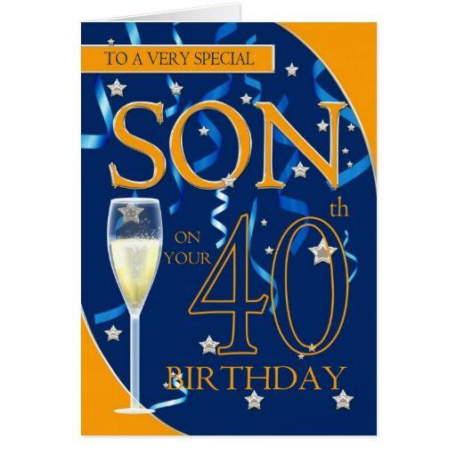 40th Birthday Son Champagne Glass Card Zazzle Com 40th Birthday Wishes 40th Birthday Happy 34th Birthday