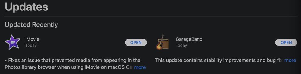 Apple updates iMovie, GarageBand for macOS Mac app store