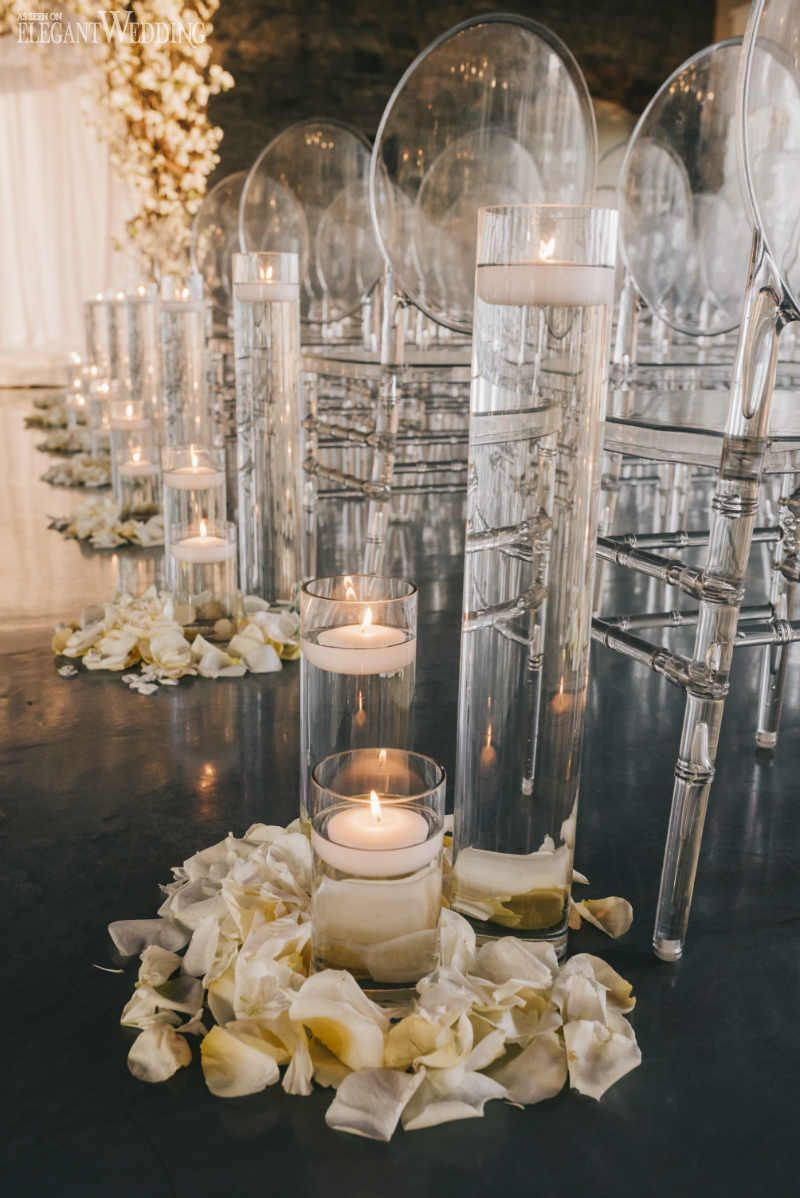 Garden wedding aisle decor  Glamorous Garden Wedding In A Ballroom  Wedding Ceremony Ideas