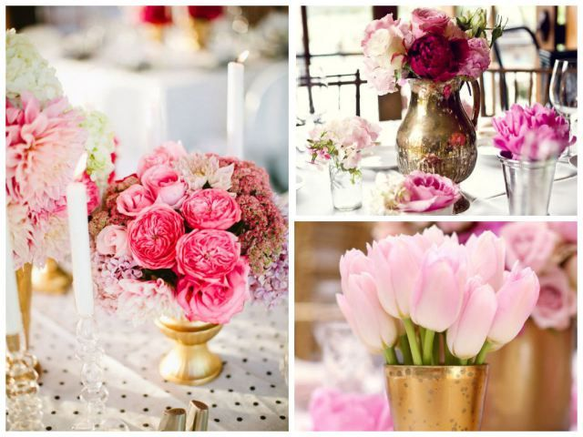 Beautiful Pink Gold Cream And Fuschia Wedding Table Flowers Check Out My