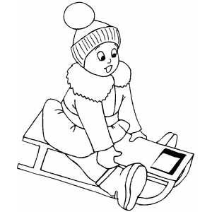 Small Girl Sledding Small Girls Coloring Pages Sled