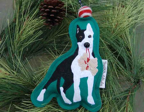 Pitbull Christmas Ornament.Black And White Pit Bull Ornament By Bestfriendsstudios On
