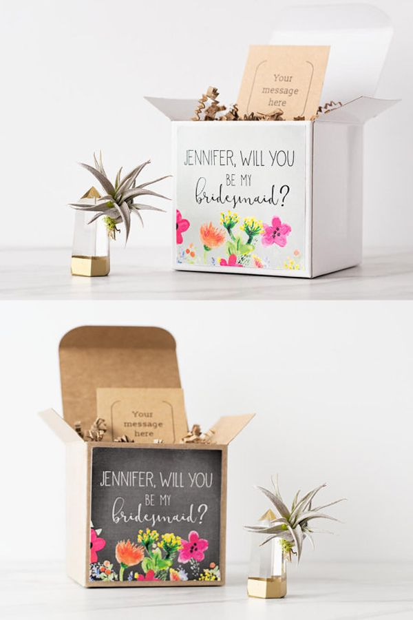 Will You Be My Bridesmaid Gift Box Air Plant Crystal Present Proposal