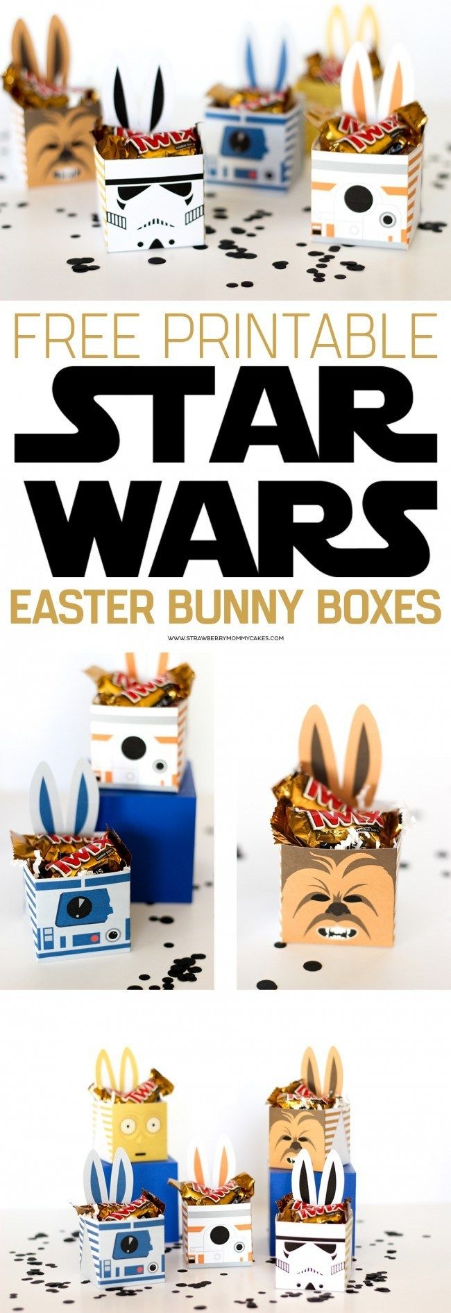 Star Wars Easter Bunny Boxes - Star wars birthday, Easter bunny, Star wars crafts, Easter crafts, Star wars gifts, Easter diy - May the Force be with you this Easter with these fun Star Wars Easter Bunny Boxes! My kids will go nuts over these fun printables!