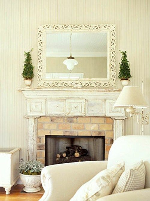Another Fireplace Decorating Idea The Topiaries Would Look