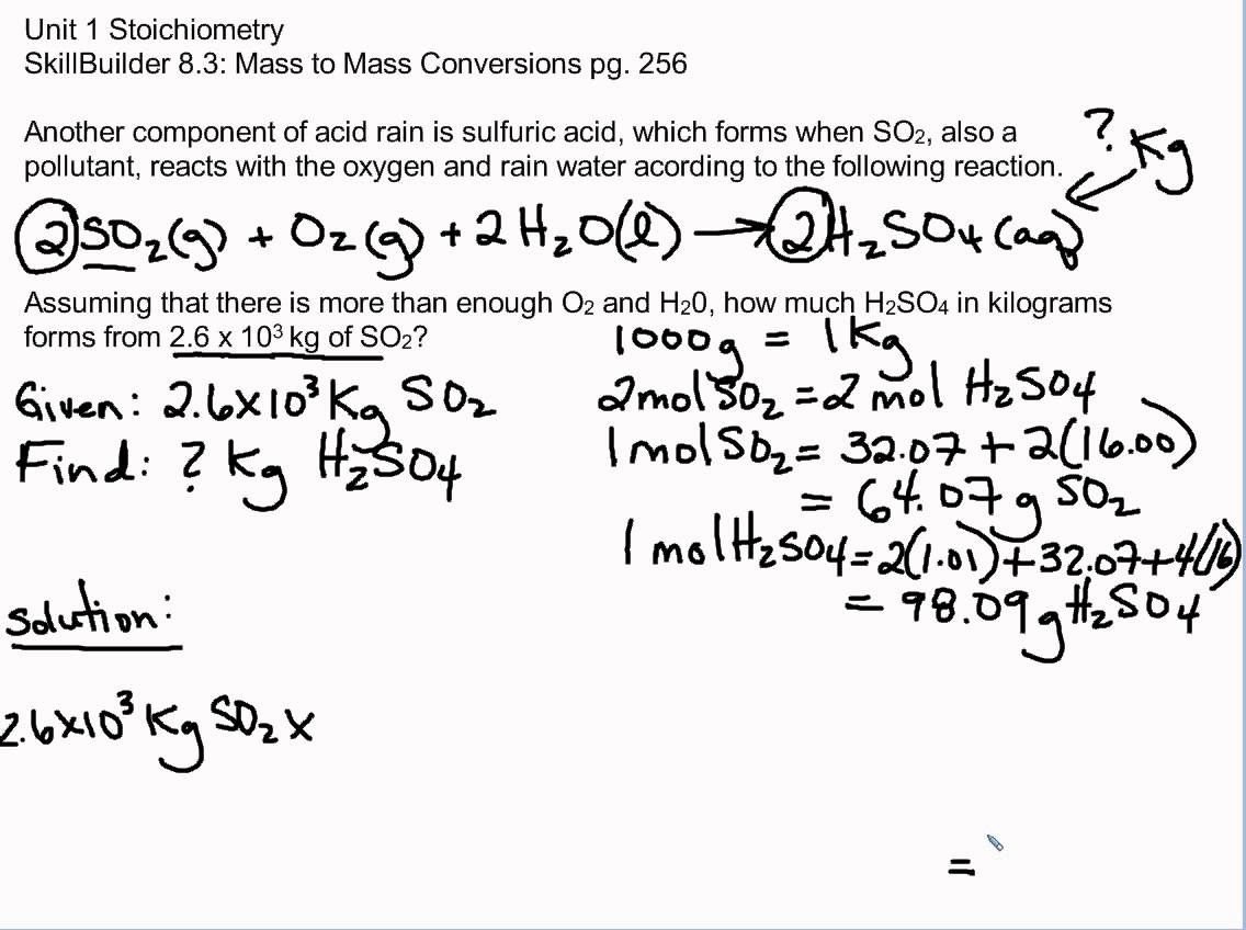 Mass To Mass Stoichiometry Worksheet