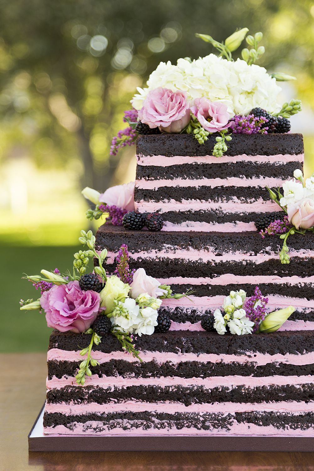 Naked Cake - Chocolate with Raspberry Buttercream Filling - Cassidy Tuttle Photography