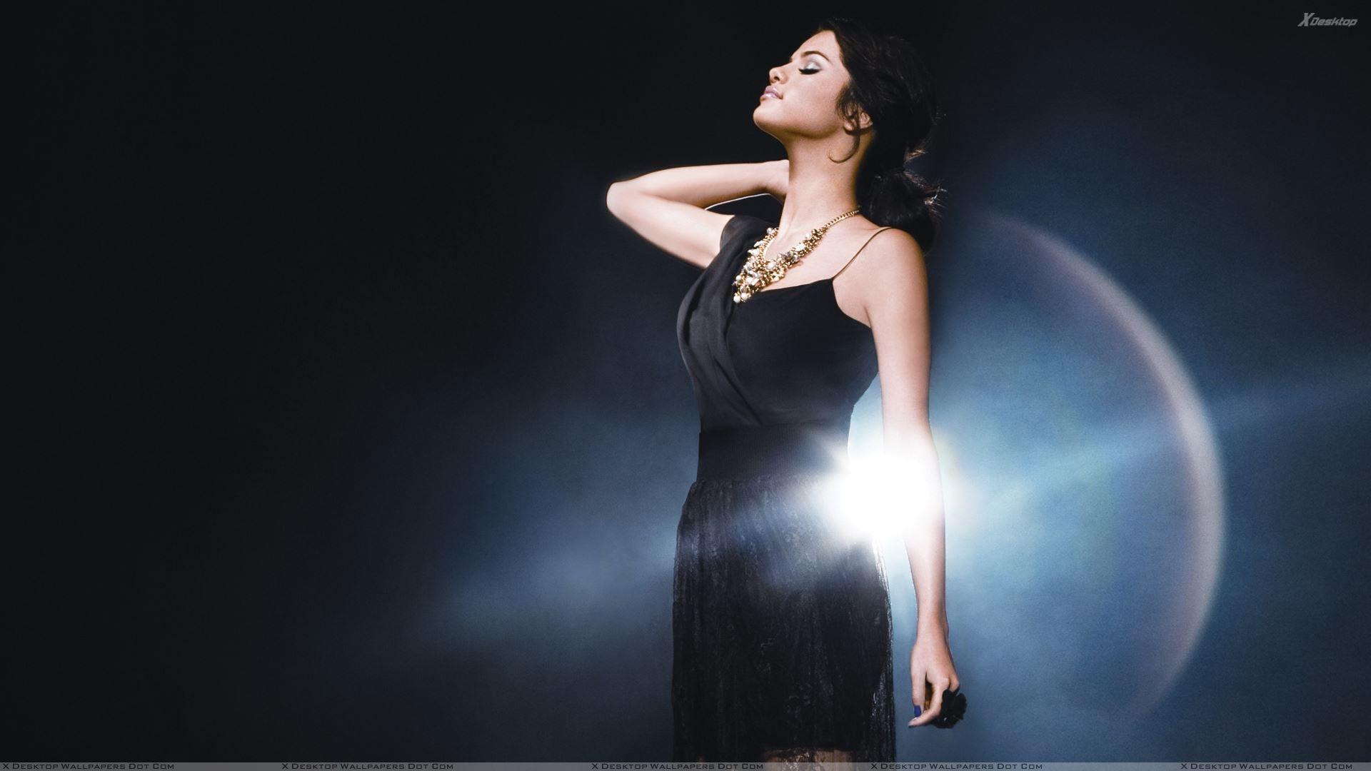 selena gomez in black dress HD Desktop Hintergrund
