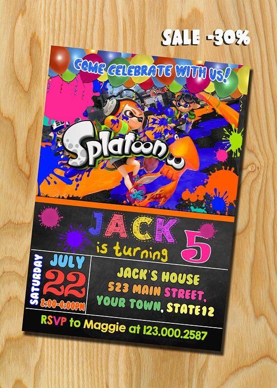 splatoon birthday invitation splatoon birthday splatoon party