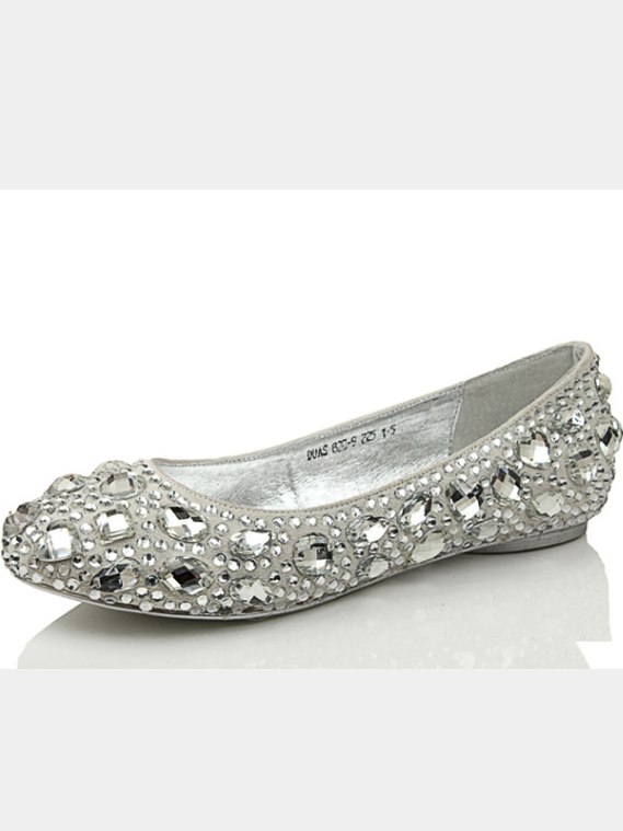 Charmant Free Shipping Crystal Silver Flat Wedding Shoes