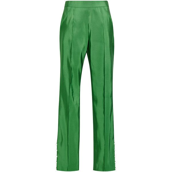 Assoulin 977 with Green Rosie Detail Pearl Button Oboe Pants Silk Hzqvxqdw