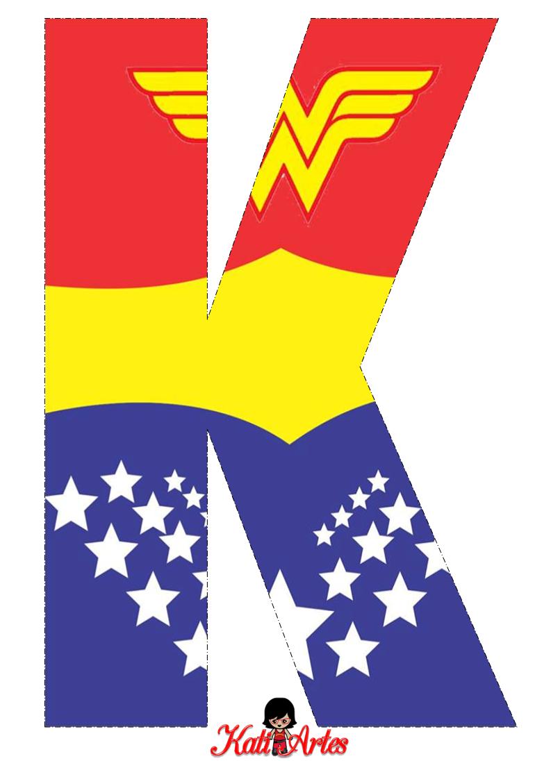 Wonder Woman Free Alphabet. Alfabeto Gratis de la Mujer