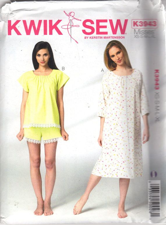 Kwik Sew 3943 Misses Nightgown and Short Pajamas Pattern Tucked by mbchills 9b7736884