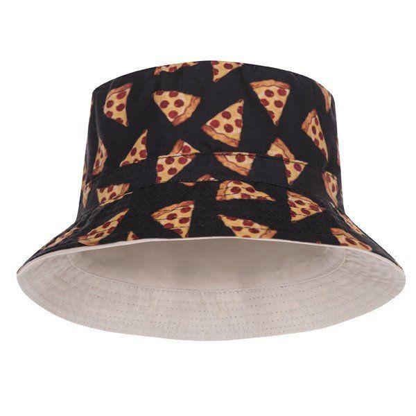 09692a3b5b0b4 Pizza Black Design Printed Bucket Hat