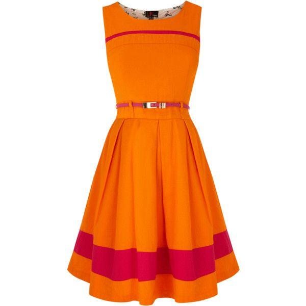 OASIS Evette Dress ($25) ❤ liked on Polyvore featuring dresses, orange, cutout dresses, full skirt, cut out dresses, oasis dresses and orange dress