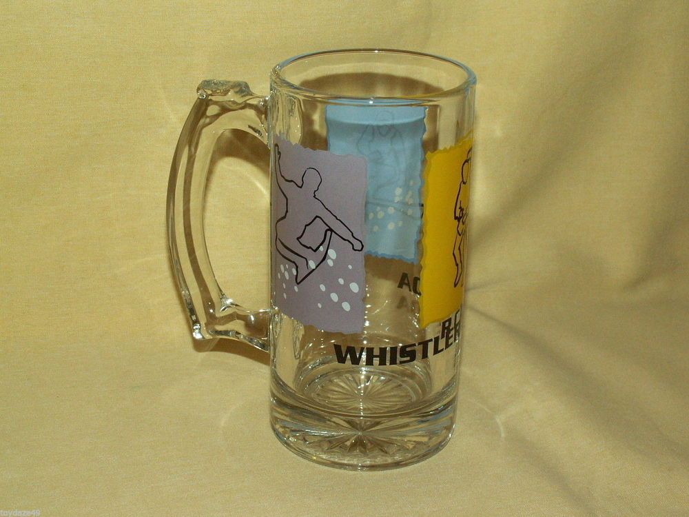 Lovely WHISTLER CANADA MUG GLASS BEER STEIN CUP HIKING SKIING SNOWBOARDING BAR  BARWARE