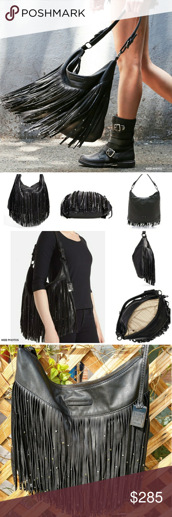 """NWT FRYE Heidi Stud Fringe Hobo Leather Bag Biker babe or boho girl, this studded hobo is one serious flirt. An extra-long curtain of leather fringe cascades from this bag, flashing shiny metal studs with every swing. Soft Italian leather feels luxe over the shoulder and zip closure keeps essentials safe.  - Studding hardware - 14"""" height - 16"""" width - 9 1/2"""" handle drop - Three interior pockets - Zipper closure  Never carried.  Markings inside zipper pocket, see pics.  Frye tag still…"""