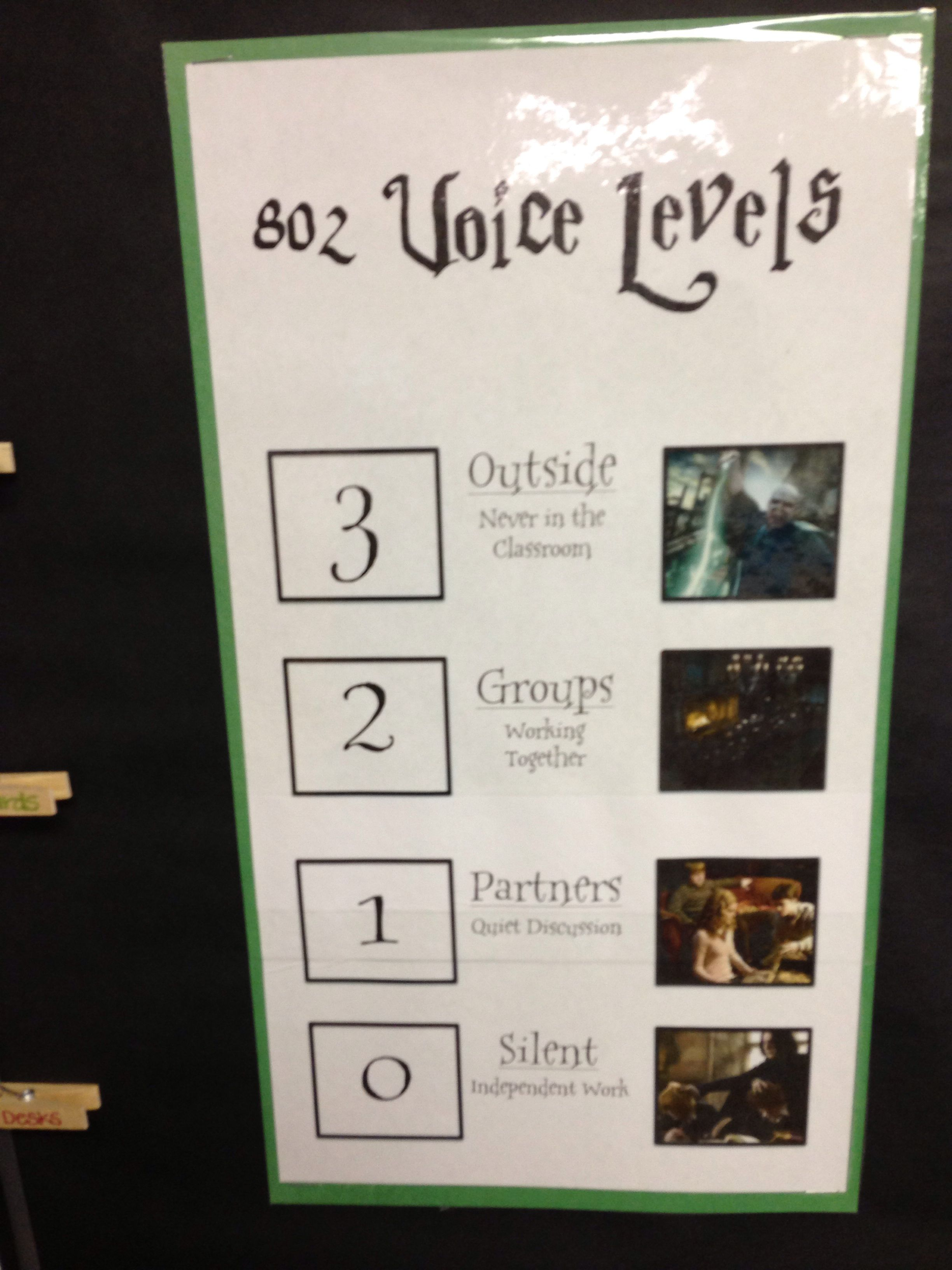 Harry Potter Classroom Voice Levels