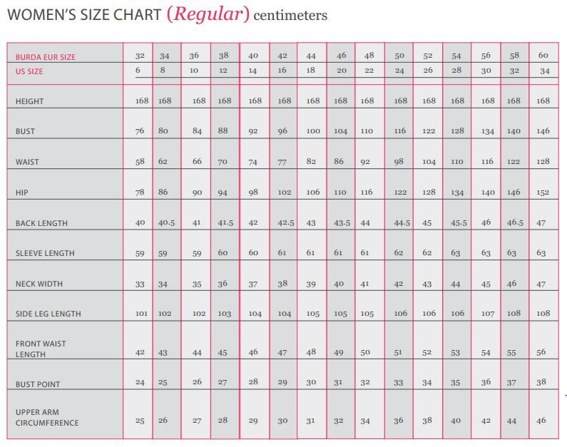 Burda patterns women   sizing chart cm also sewing rh pinterest