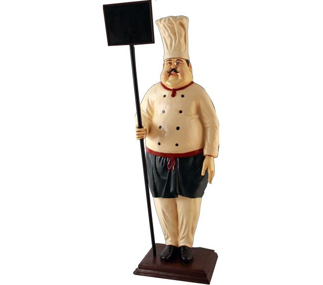 Fibreglass Cook With Sign Board Statue Standing Butler