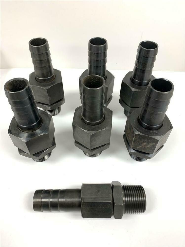 Rare 8pc Set 1 Mnpt Thread X 1 Barb 2 Part Hose Fitting Air Or Hydraulic Set Unknown Hose Barbs Fittings