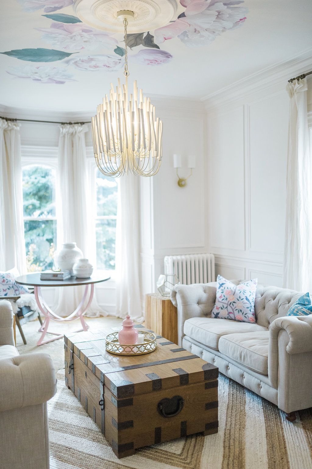 Modern Parisian Living Room Reveal: Wainscoting, Paint, Lighting