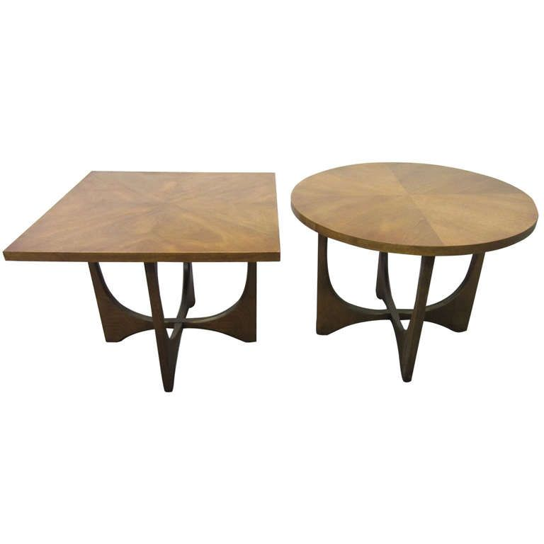Pair Broyhill Brasilia Round And Square End Tables Mid Century Danish Modern