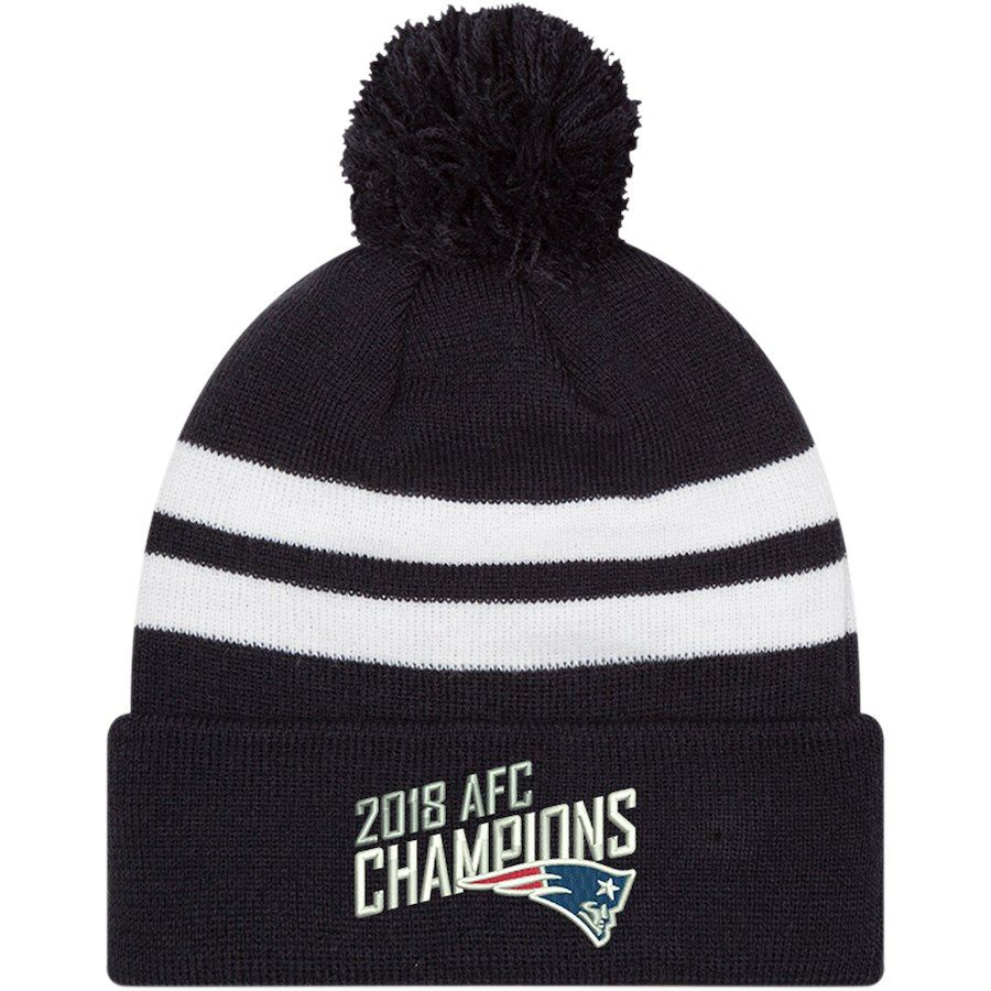 315a7f9d8 Men s New England Patriots New Era Navy 2018 AFC Champions Top Stripe Knit  Hat