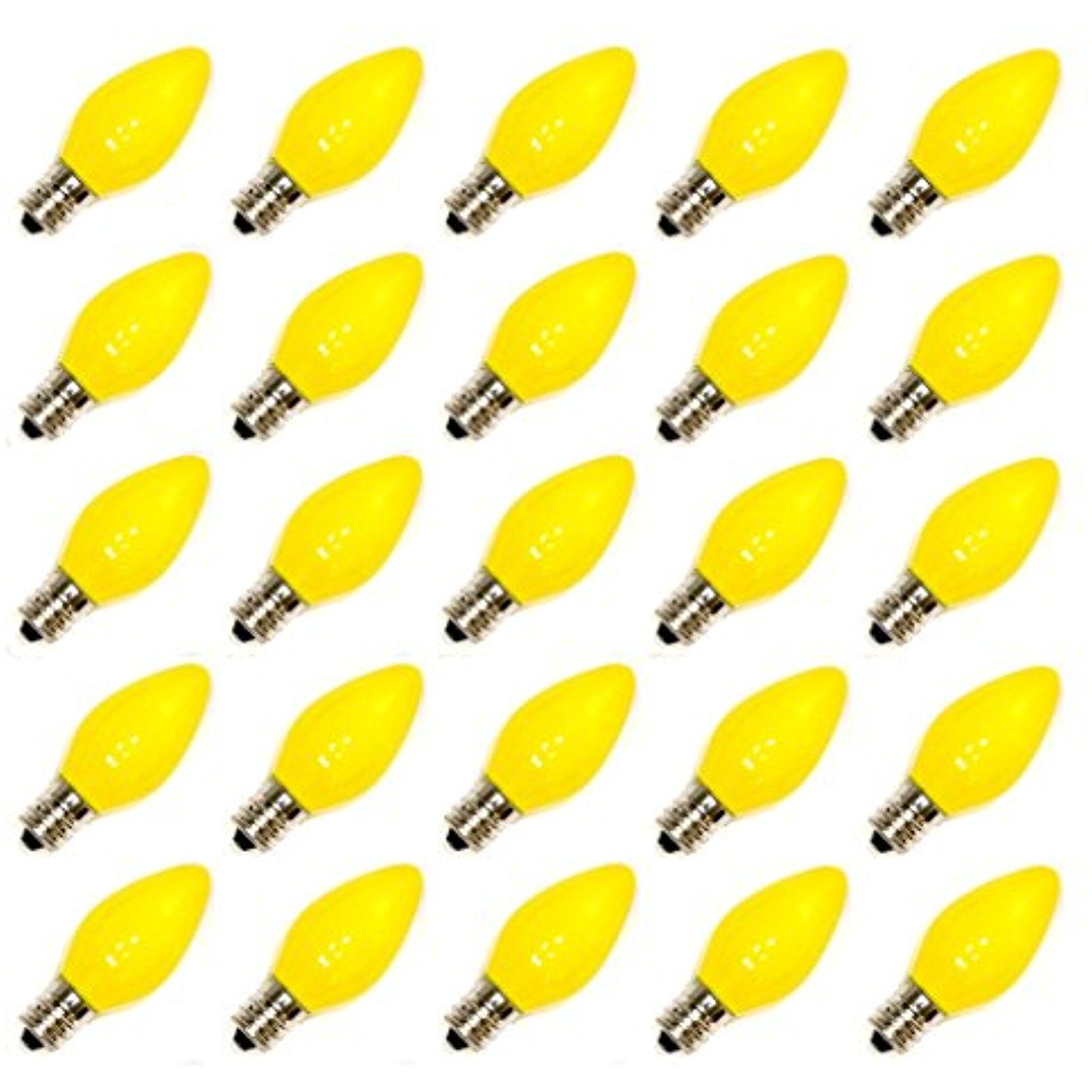 vickerman 10058 c7 candelabra screw base ceramic yellow 25 pack christmas light bulbs v471755