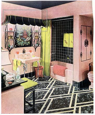 Black Pink Yellow Vintage Bathroom