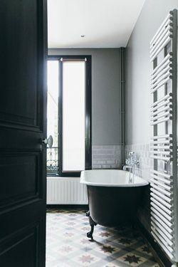 Vasca da bagno vintage in ceramica bianca e nera.   Bagni Vintage ...