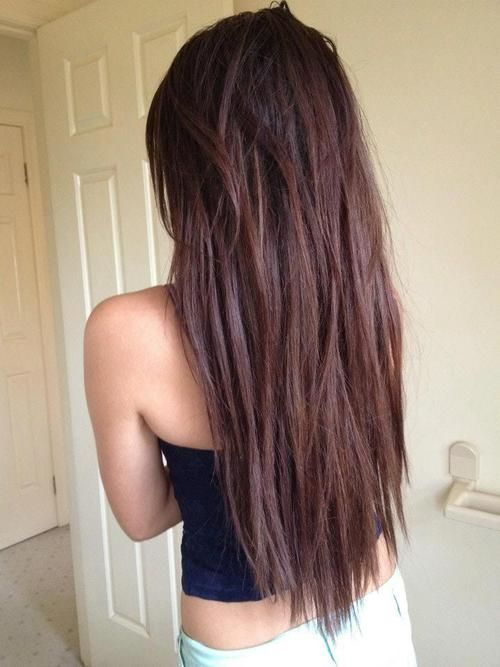 Straight Choppy Textured Chocolate Brown Long Hairstyle For Girls Hairstyles Weekly Hair Beauty Long Hair Girl Hair