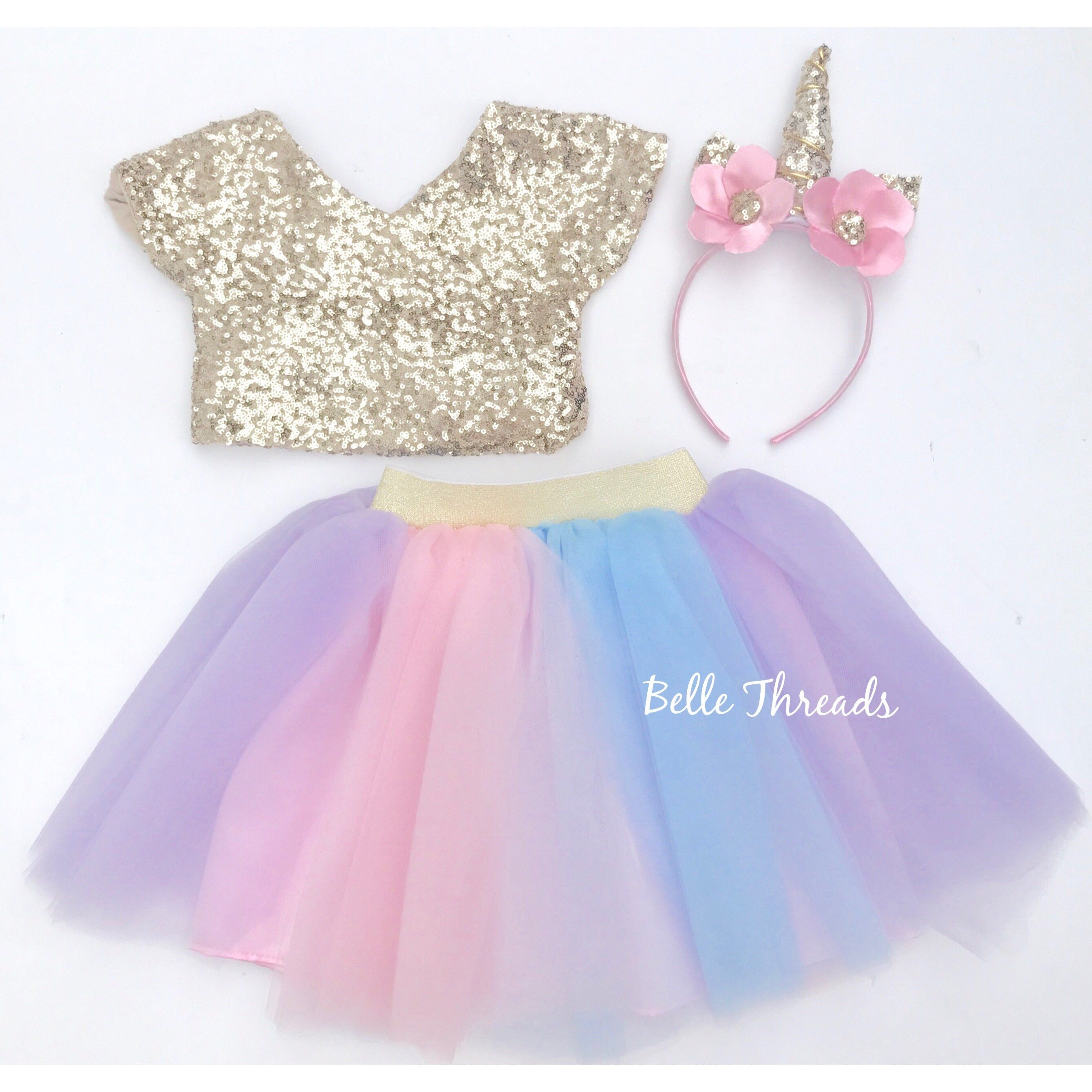 c1d7523ec5d Unicorn Tutu Set - Gold Sequin Top   Rainbow Tutu Set - Unicorn Dress –  Belle Threads