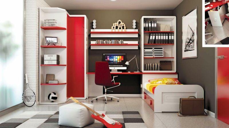 Modernes Jugendzimmer In Rot Gestalten